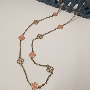 Gorgeous Peach & Gold Long Necklace